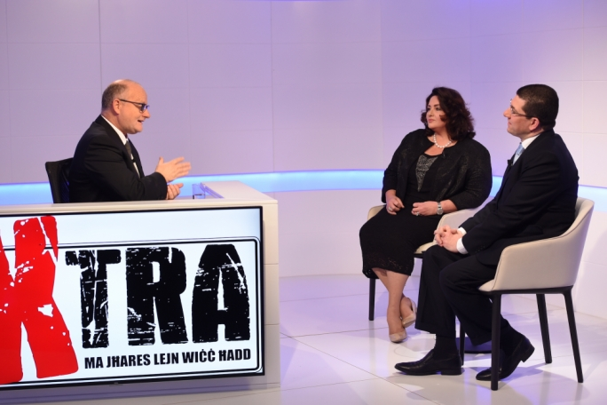 Host Saviour Balzan with civil liberties minister Helena Dalli and PN MP Clyde Puli